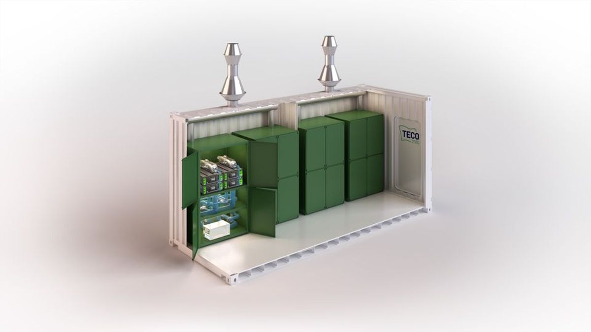 The fuel cell container is a standard 20-ft ISO container that holds four fuel cell modules with all related auxiliaries (Image: TECO 2030)