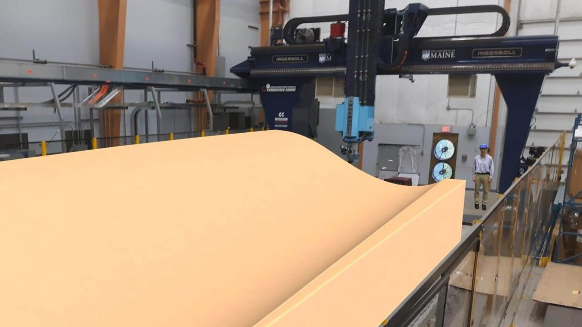 Research at UMaine could transform mould production and enable more rapid, cost-effective large wind turbine blade development