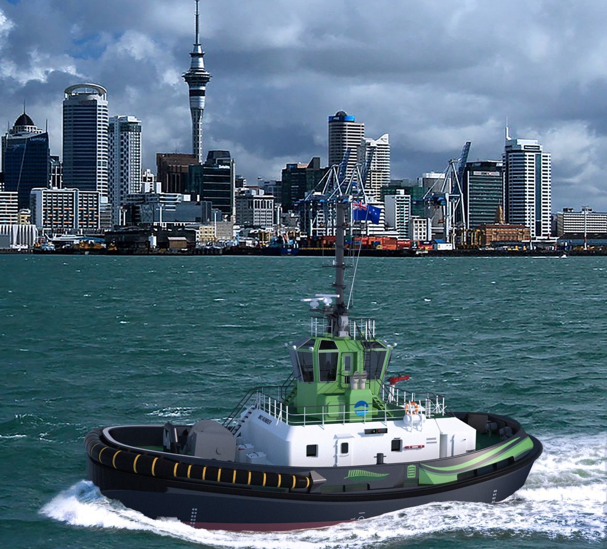 Artist's impression of an RSD-E Tug 2513 Damen is building for Port of Auckland (source: Damen)