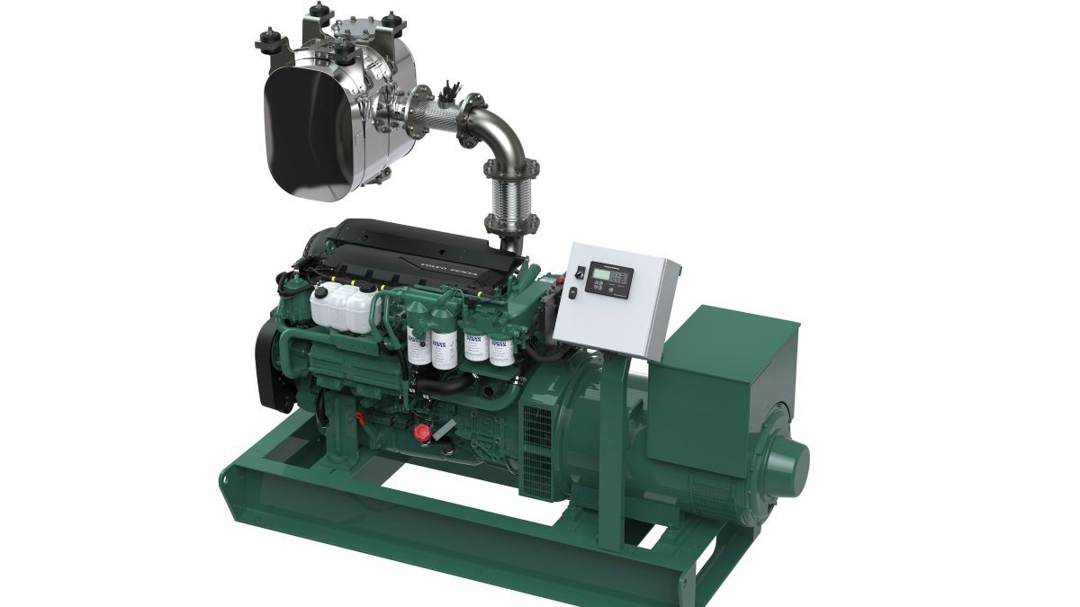 Fitted with an SCR, Volvo Penta's D8 MG IMO Tier III/EU Stage V for marine genset applications (source: Volvo Penta)