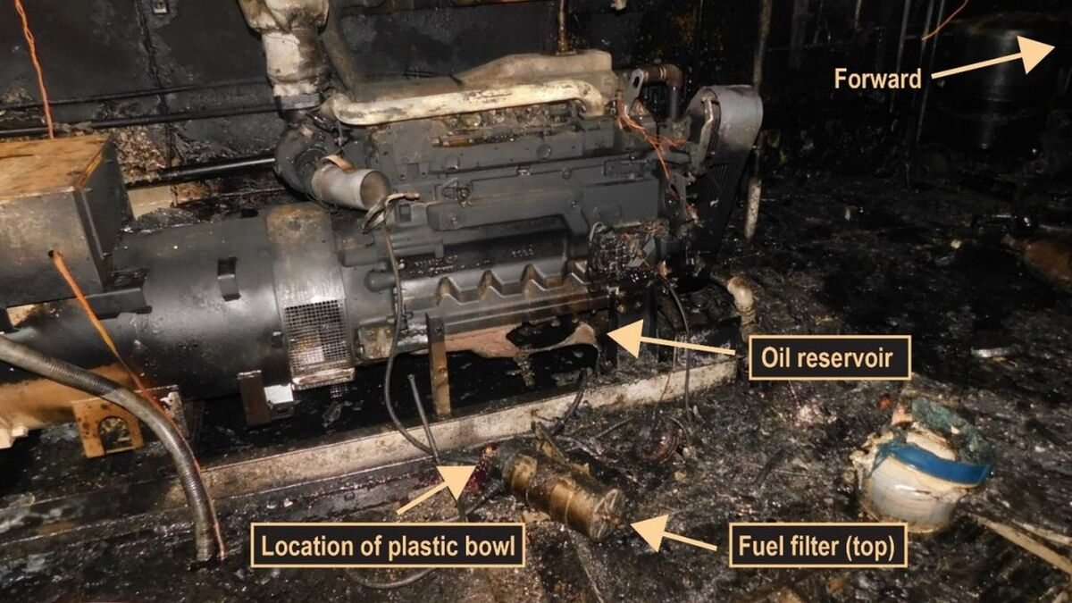 Engine failure caused fire damage on Susan Lynn towing vessel (source: NTSB)