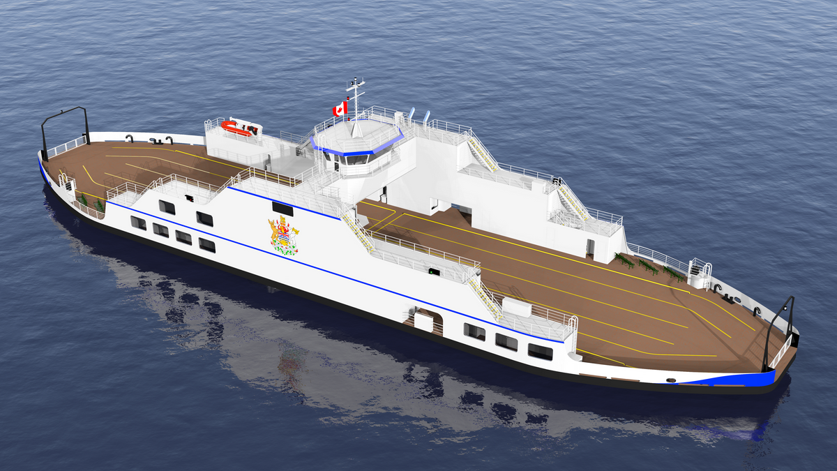 A rendering of the Kootenay Lake ferry which will operate with Wärtsilä hybrid propulsion (© British Columbia Ministry of Transportation and Infrastructure)