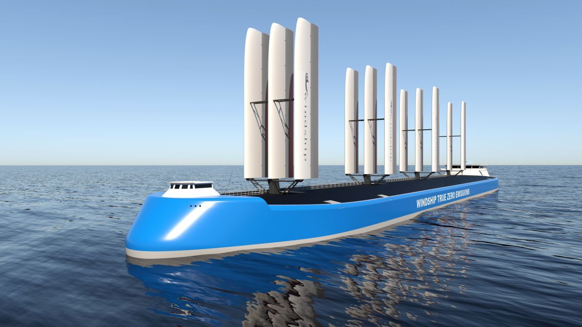 Tesla of the Seas: Windship's triple-wing rig is said to be highly efficient (image: Windship)