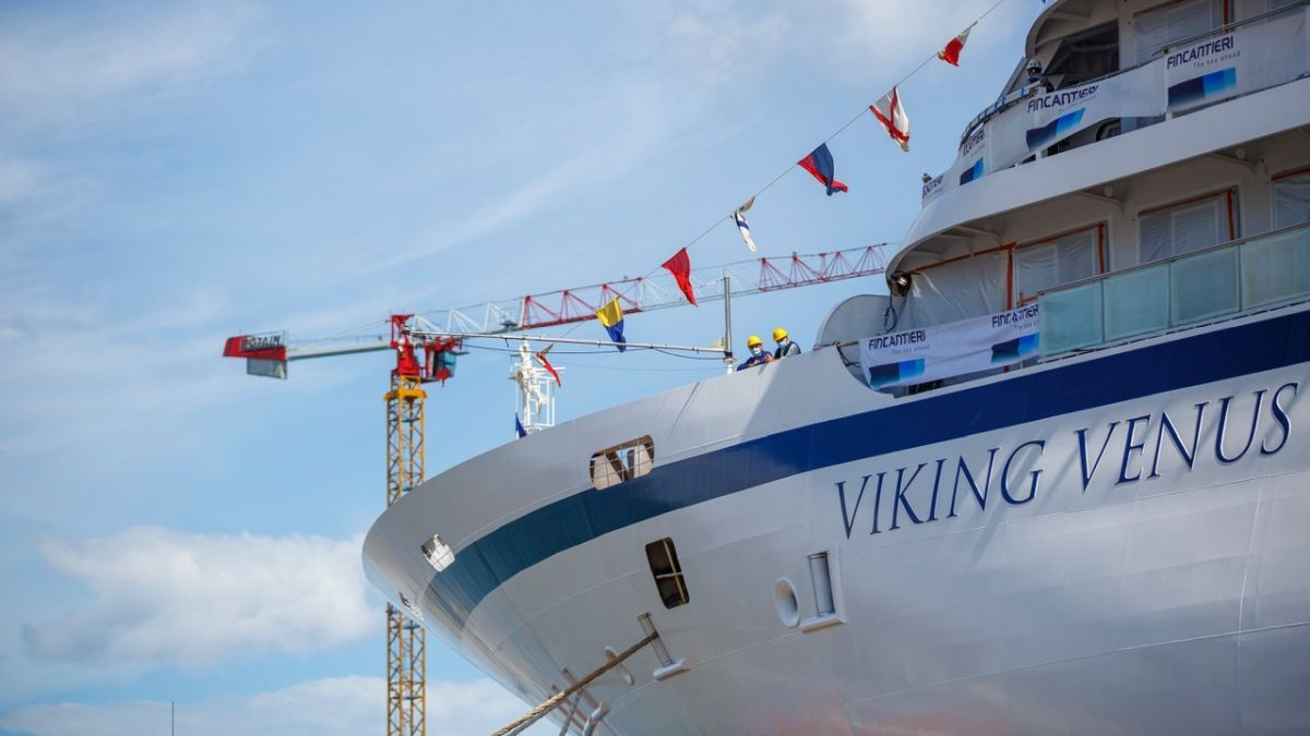 Floated out at Fincantieri last year, Viking Venus will join Viking's fleet in 2021 (source: Viking Cruises)