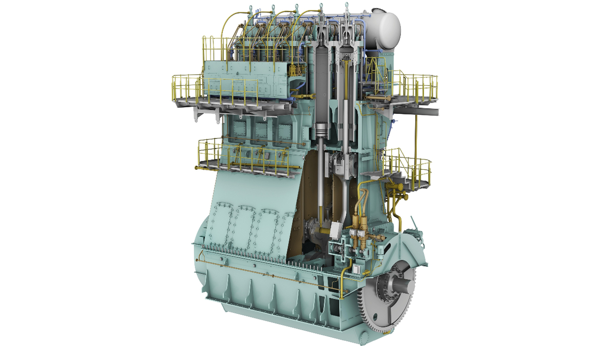 WinGD's two-stroke, Otto-cycle, low-pressure dual-fuel X72DF engine is a popular choice for LNG carrier newbuilds (source: WinGD)