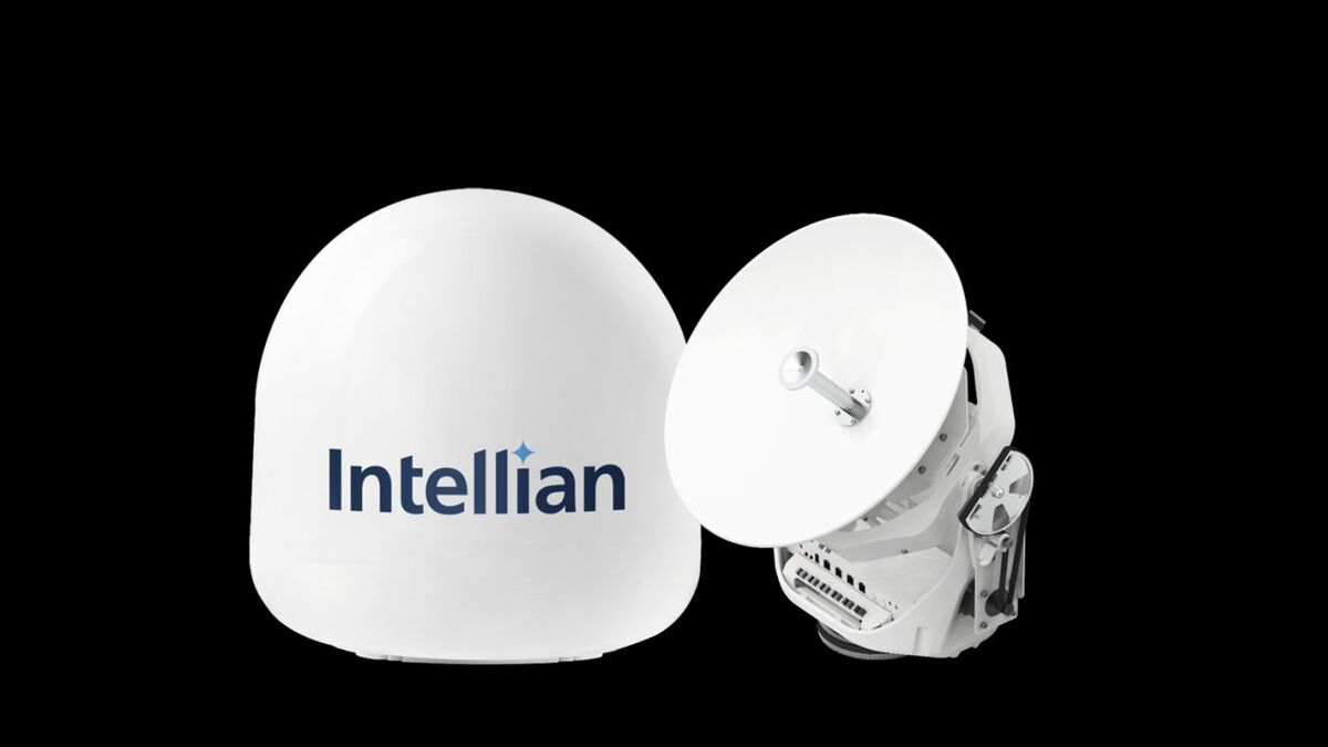 Intellian VSAT v45C is compact for installation on workboats (source: Intellian)