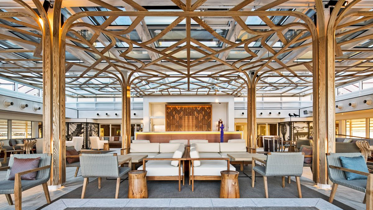 Passengers can enjoy tea and scones under a canopy of Scandinavian trestle wood in the Wintergarden (source: Viking Cruises)