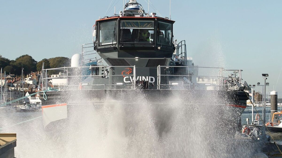 CWind Pioneer has an SES hullform with an air cushion that lifts it out of the water