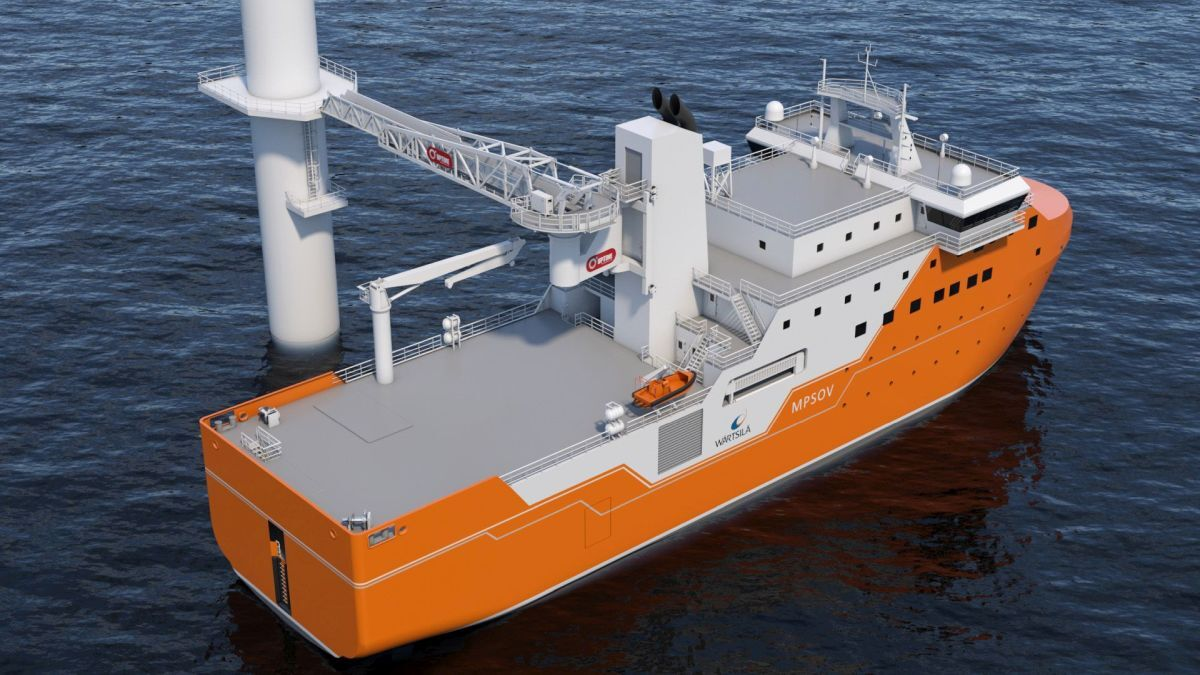 The dynamic positioning system on the Wärtsilä SOV supports the use of the ship's 3D motion-compensated walk-to-work system