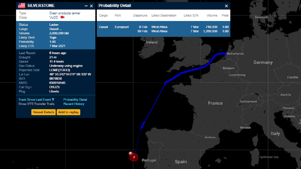 VLCC Silverstone has been spotted undertaking an unusual voyage (source: ClipperData)