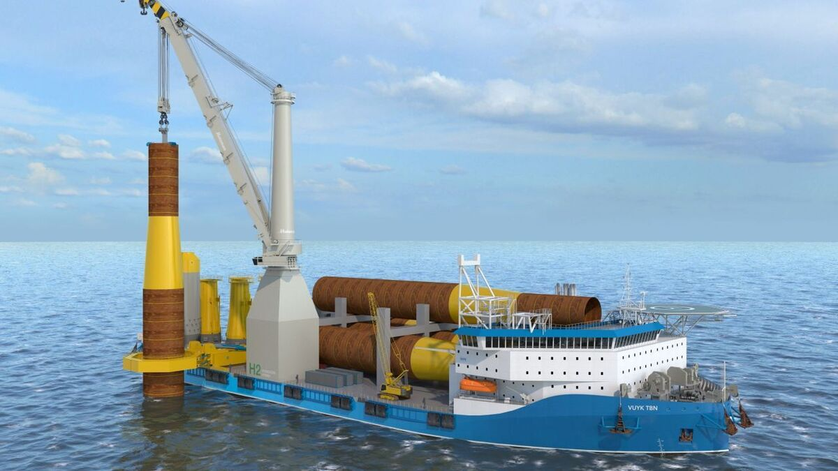 Vuyk's foundation installation vessel can transport and install six extra-large monopiles of up to 12 m diameter