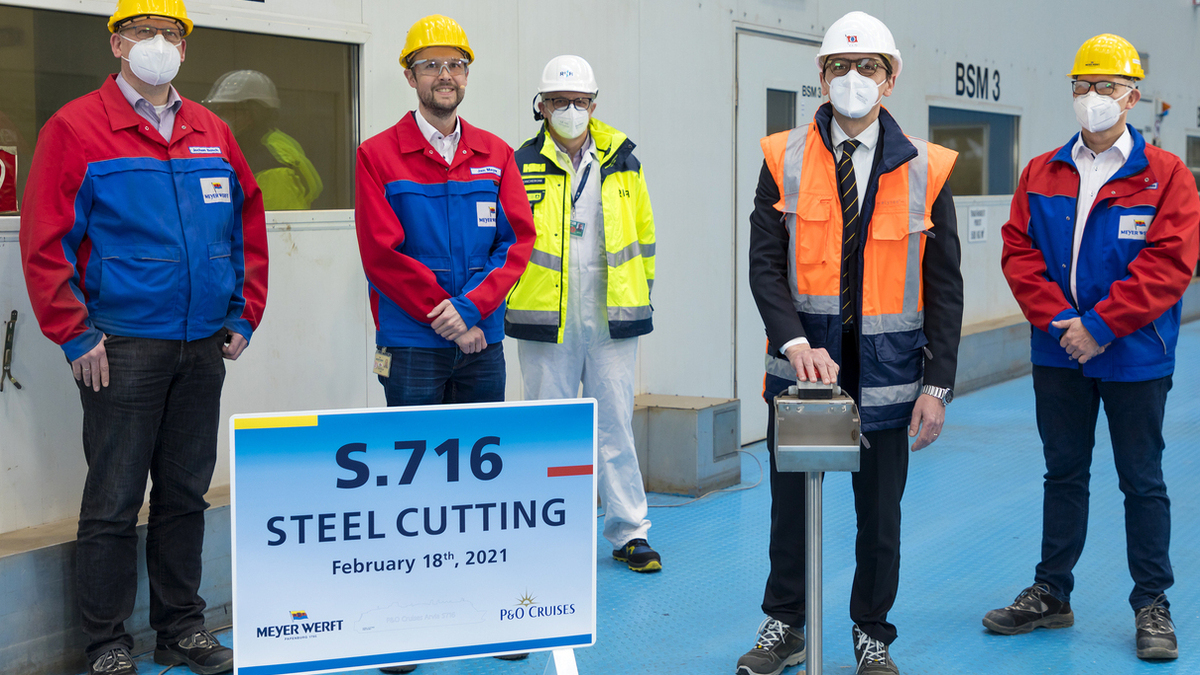 Meyer Werft cut steel for Arvia in February (Image: Meyer Werft)