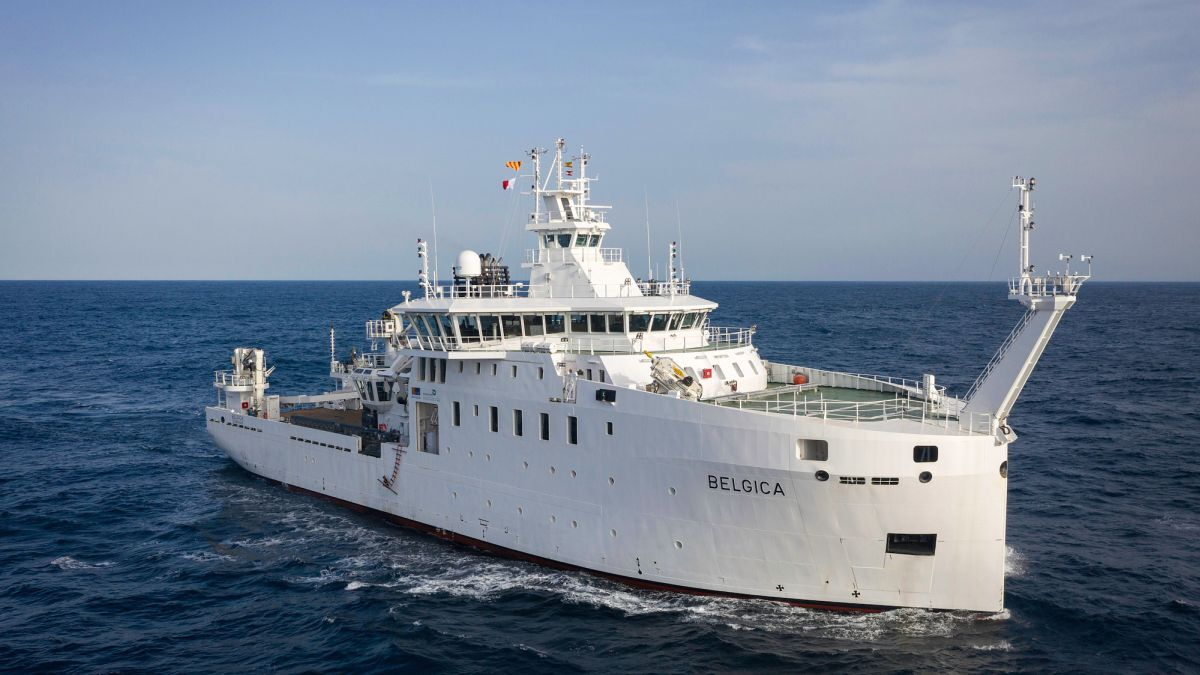 The oceanographic research vessel Belgica on sea trials (source: Freire Shipyard)