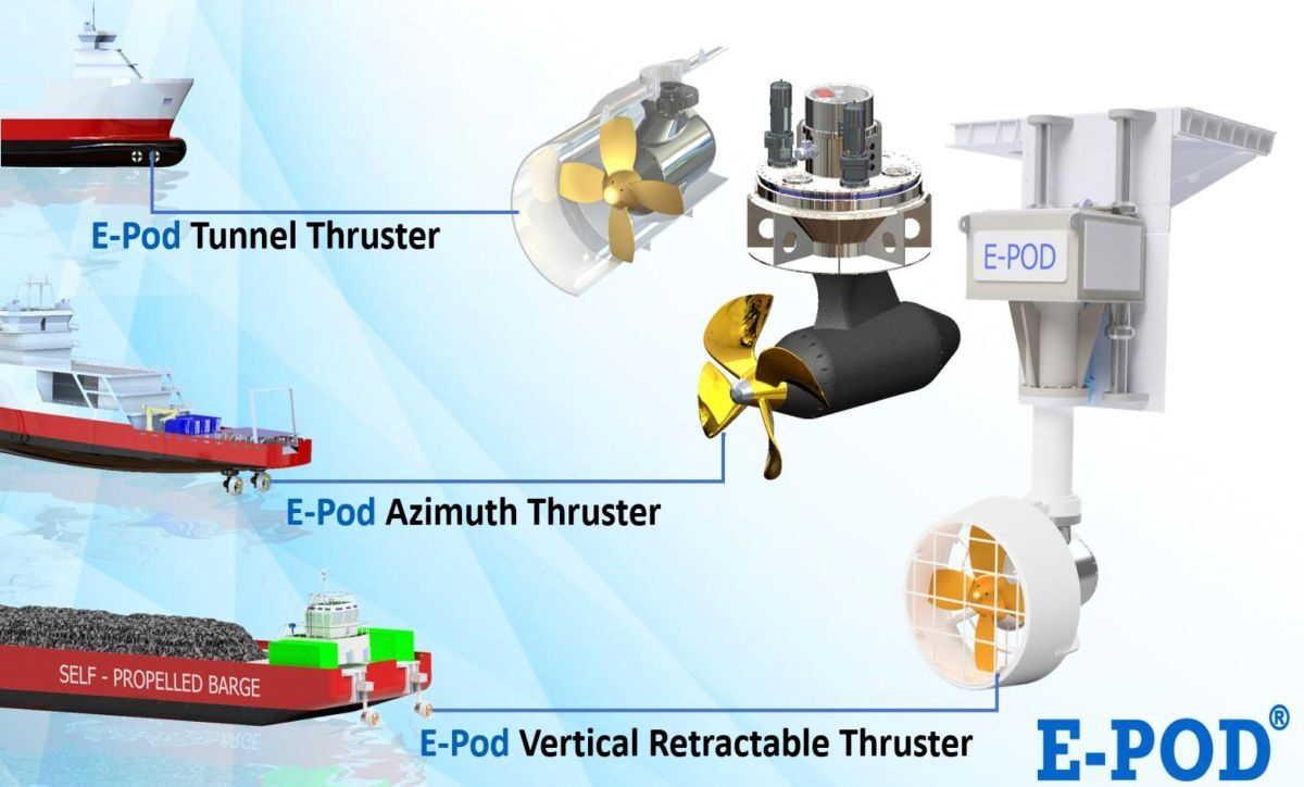 E-Pods are available as tunnel, azimuth and vertical retractable thrusters (source: E-Pod Propulsion)