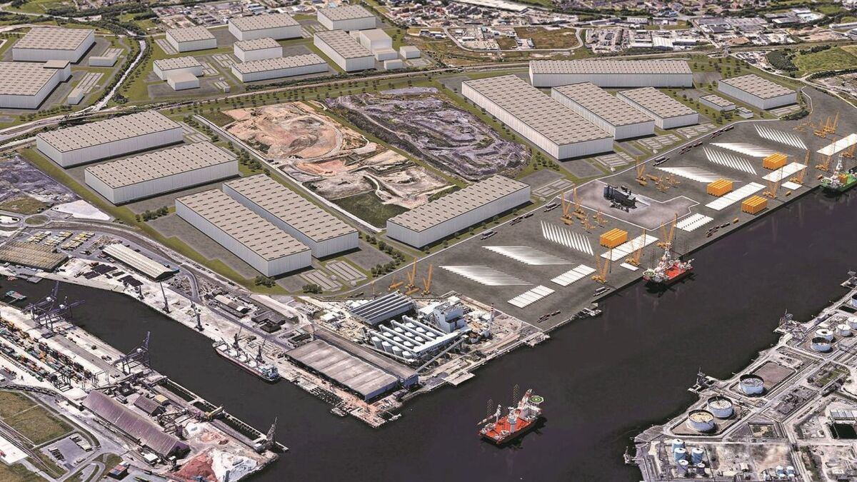 An artist's impression of GE Renewable Energy's Teesworks blade facility once the site has been redeveloped