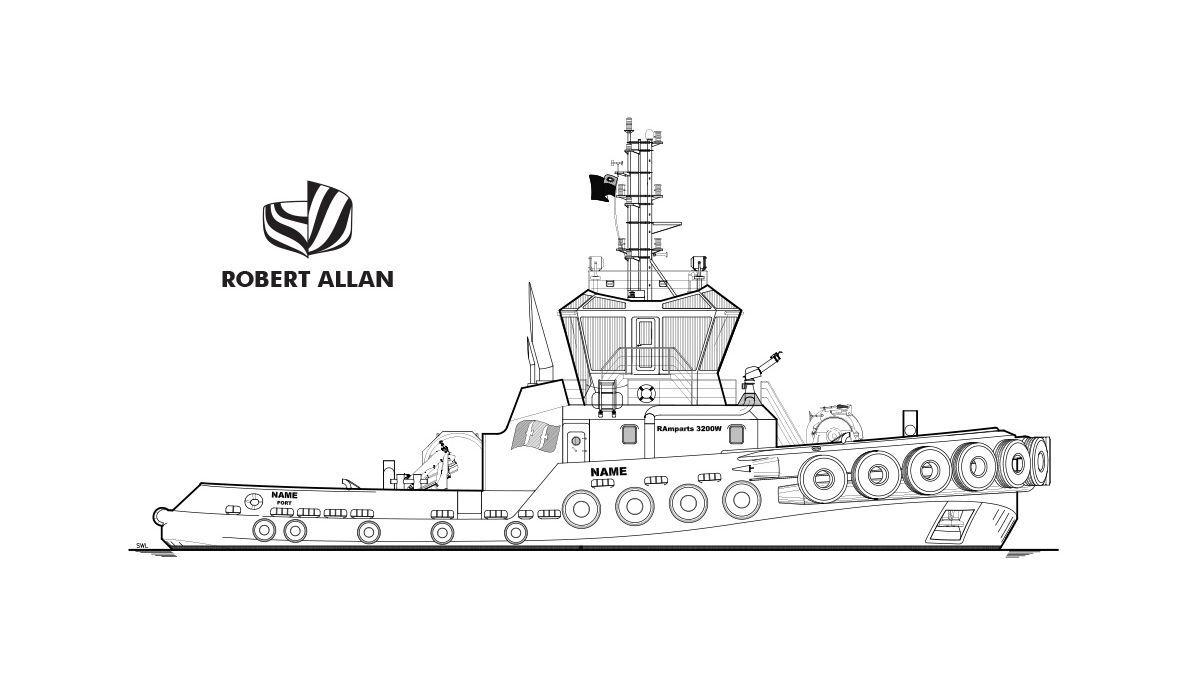 Robert Allan's 3200-W type tug design schematic (rendering: Robert Allan)