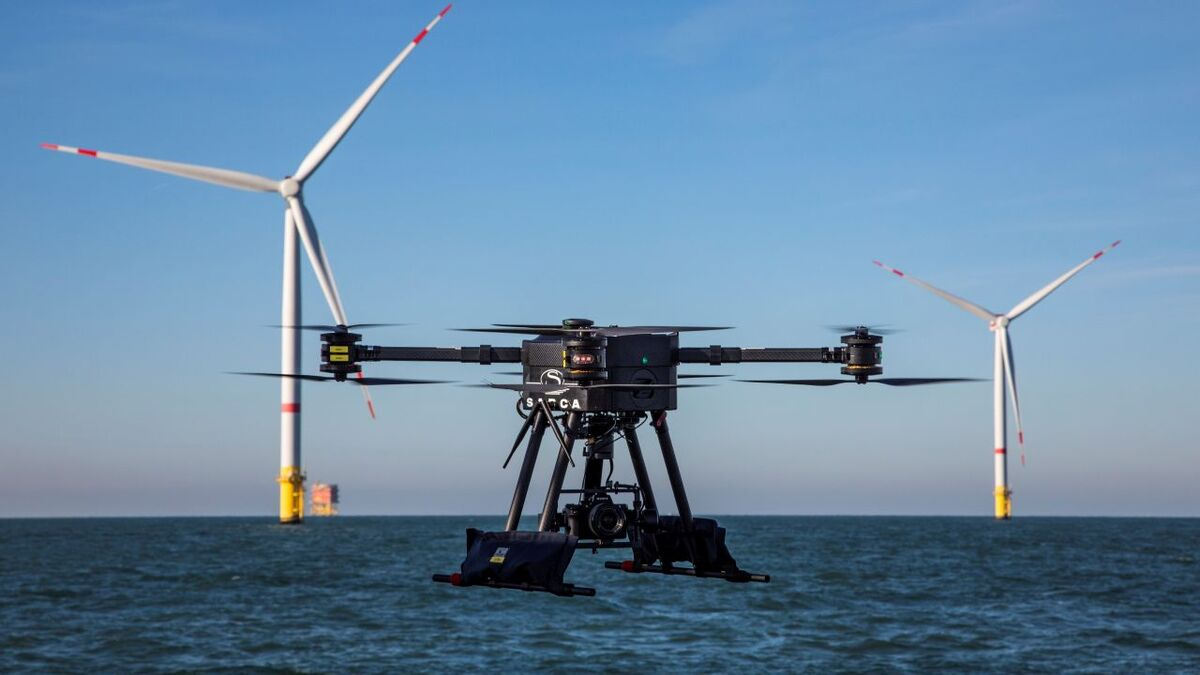 DEME and partner Sabca successfully tested rotor-wing and fixed-wing drones at the Rentel offshore windfarm