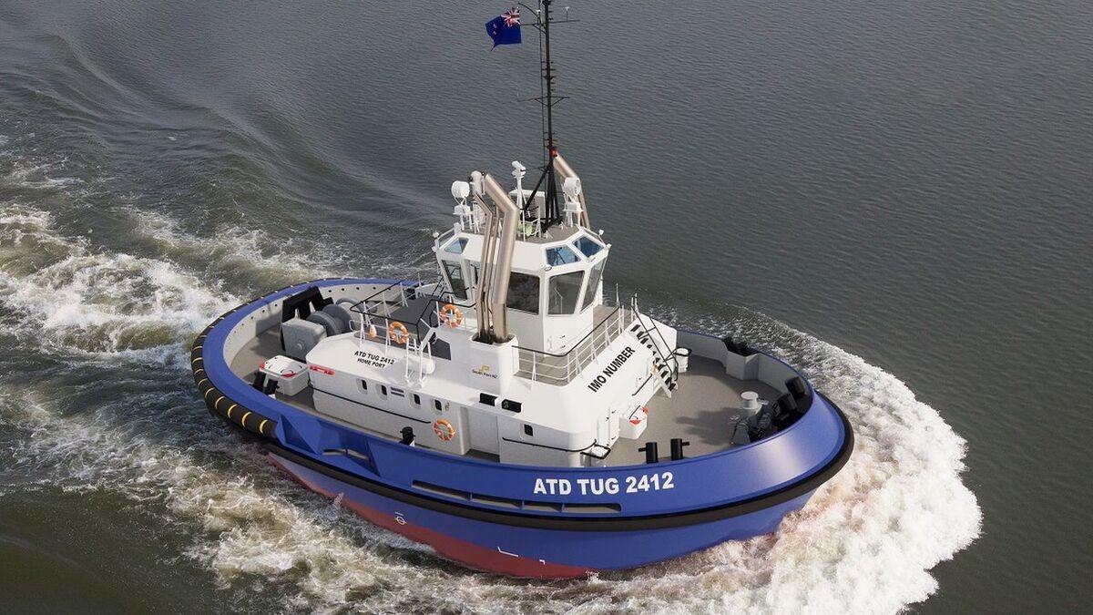 Artist Impression of a Damen ATD Tug 2412 for New Zealand South Port (source: Damen)