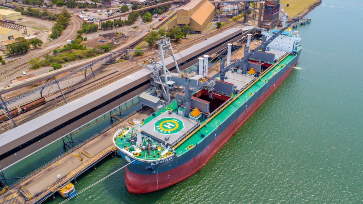 Marshall Islands-flagged Afros is the world's first bulk carrier fitted with rotor sails (source: Anemoi)