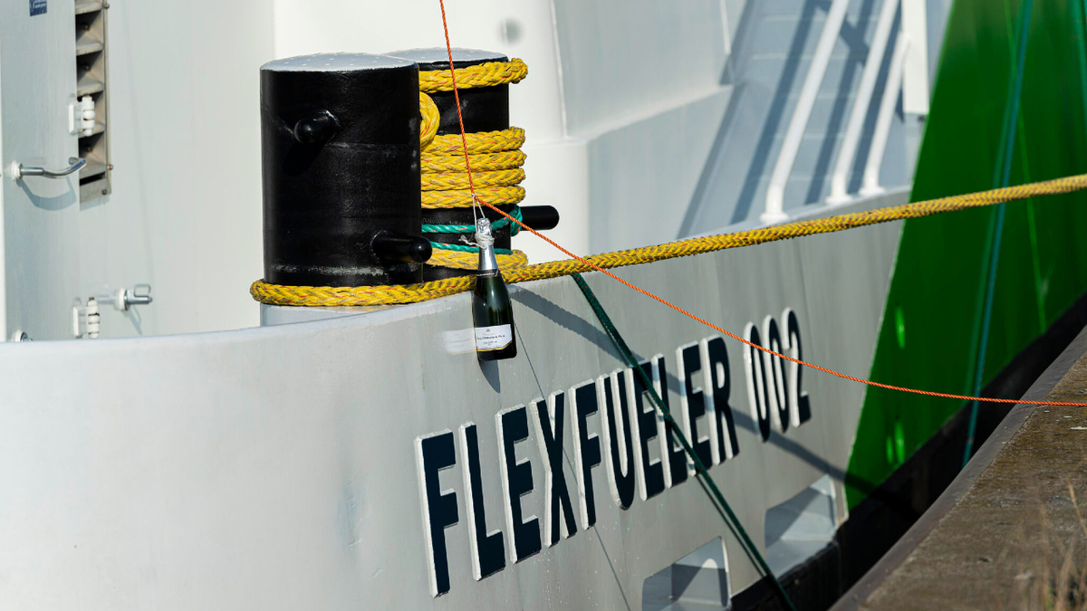 The newly christened Flex Fueler 002 will offer carbon-neutral LNG at the Port of Antwerp (source: Titan LNG)