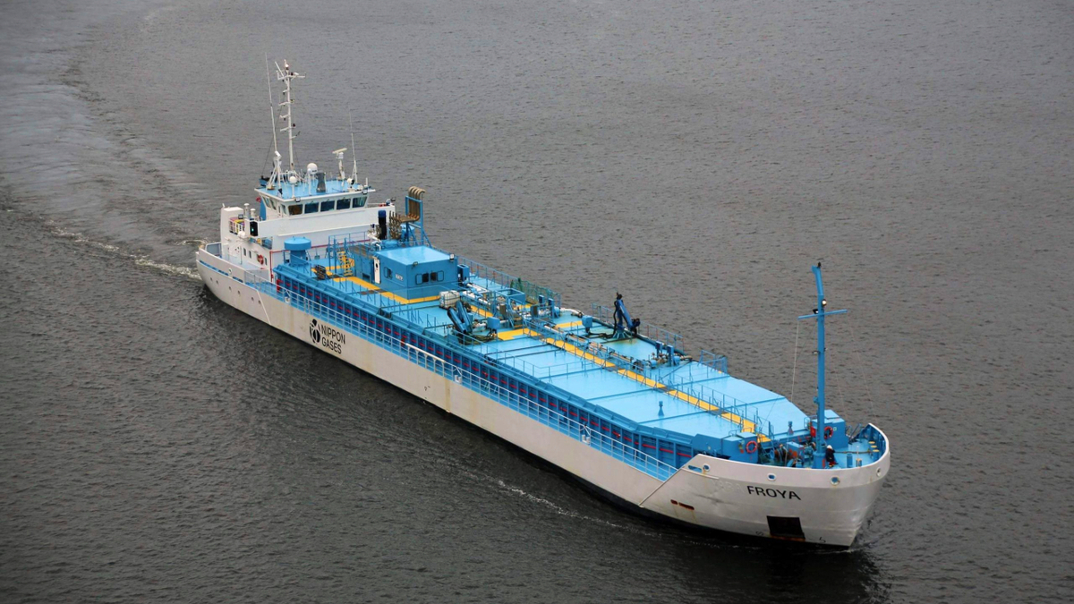 The CO2 gas carrier Frøya is managed by Larvik Shipping in European service (source: Larvik)