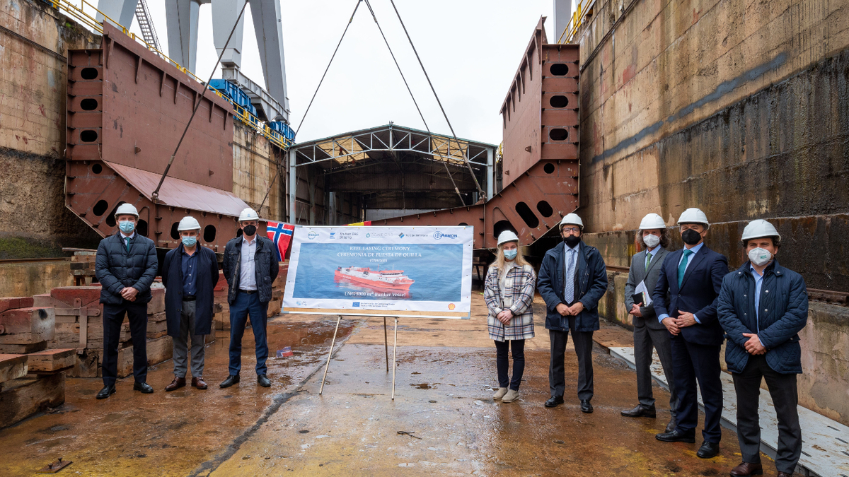 A keel-laying ceremony was recently held at Armon Gijon for a 5,000-m3 capacity LNG bunker vessel (source: Enagas)