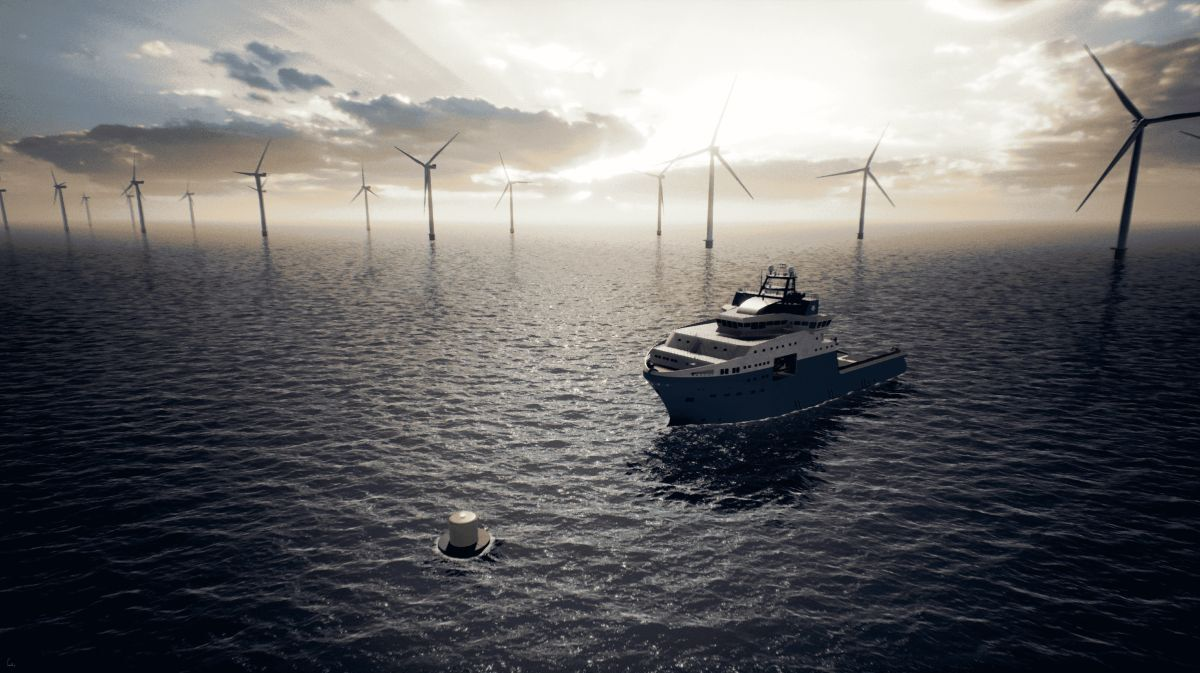 The power buoy will allow hybrid-battery offshore vessels to recharge while mooring safely offshore (source: Maersk Supply Service)