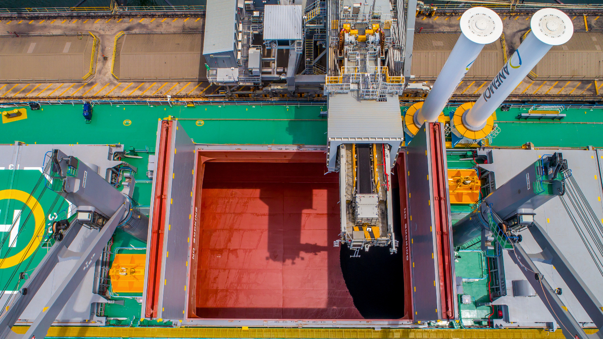 Overhead view showing placement of rotor sails on bulk carrier Afros (source: Anemoi)