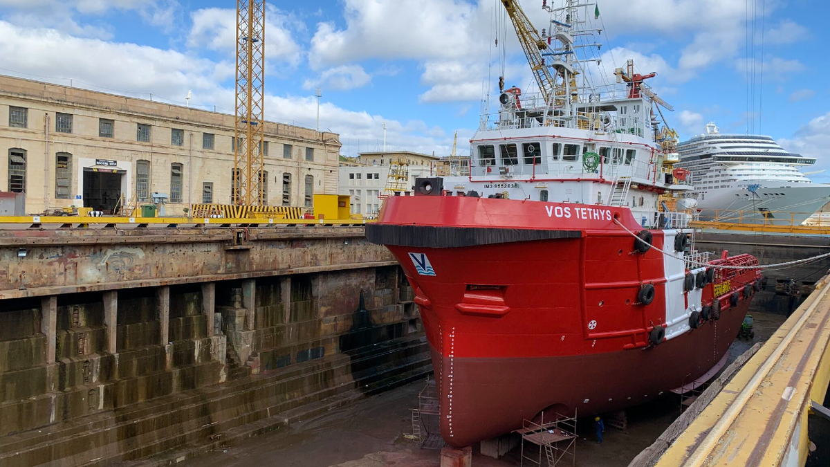 RINA awarded the Biosafe Ship notation to VOS Tethys during its drydocking at Palumbo Shipyard (source: Vroon)