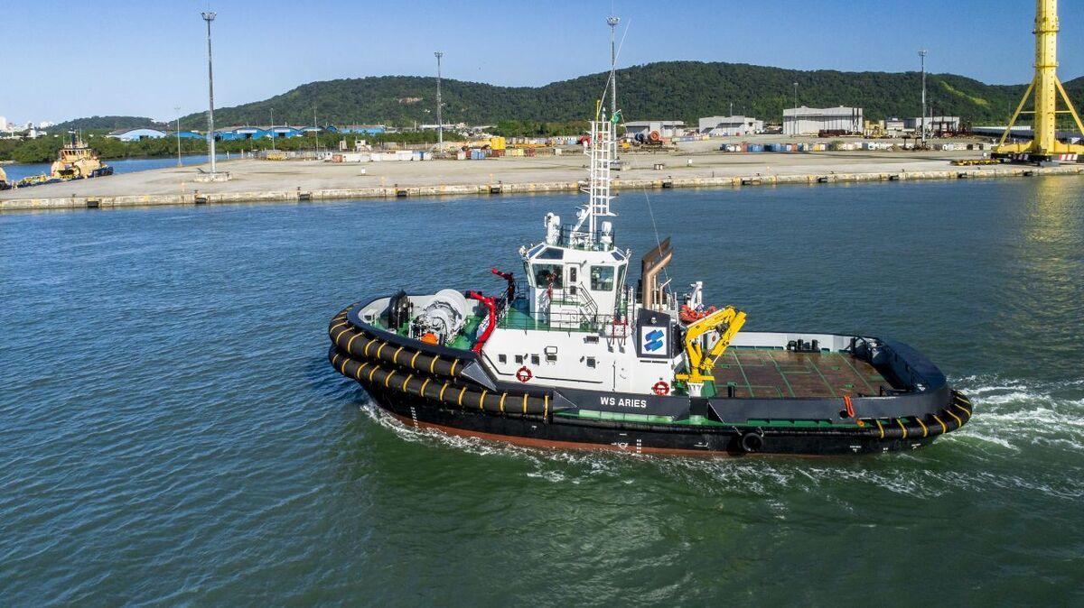 Harbour tug WS Aries has taken depth measurements in port (source: Wilson Sons)