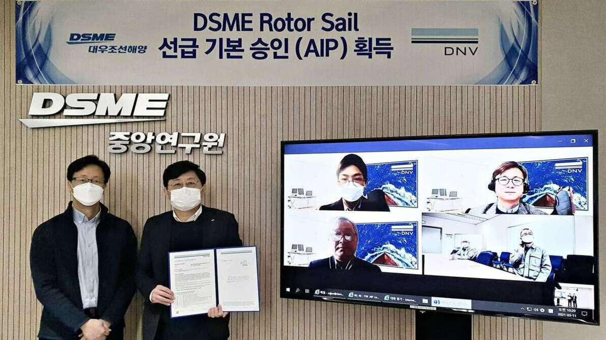 DNV has granted an AiP for DSME's rotor sail system (Image: DNV)
