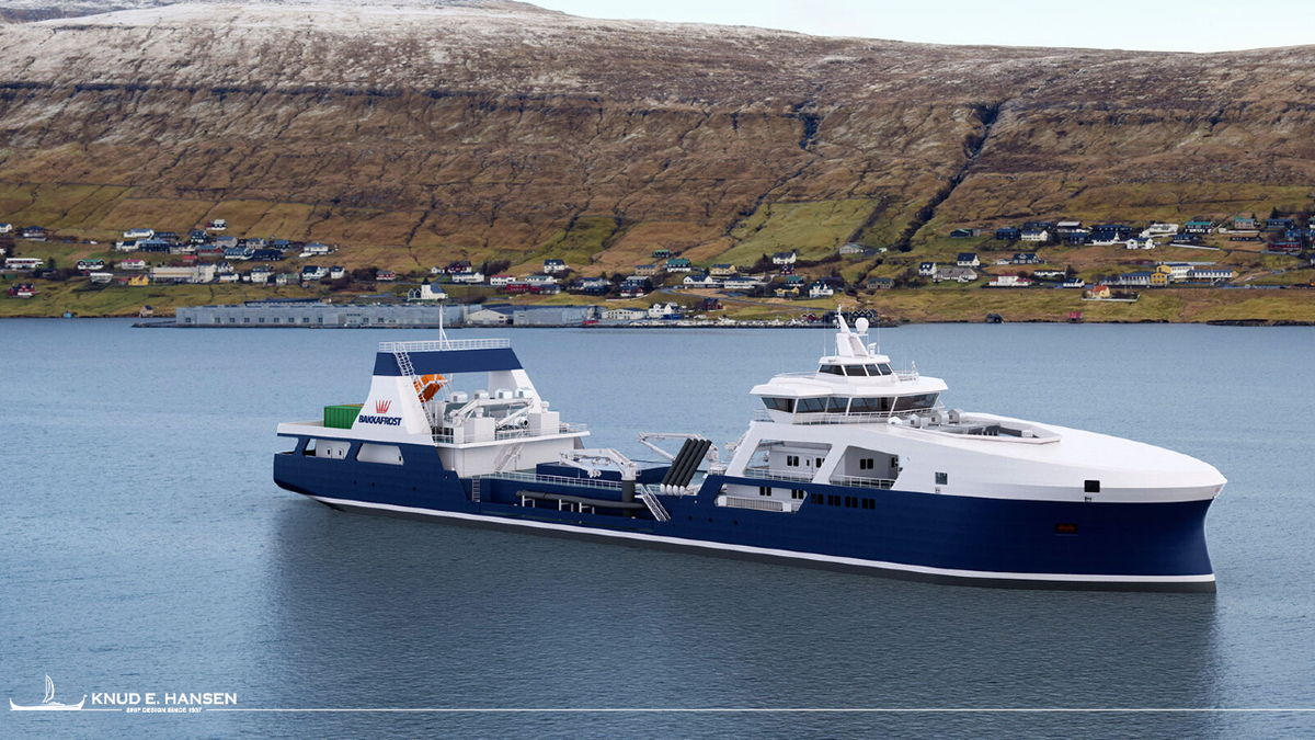 Bakkafrost's battery-hybrid live fish carrier will have a capacity for 1,000 tonnes of salmon (source: Knud E Hansen)