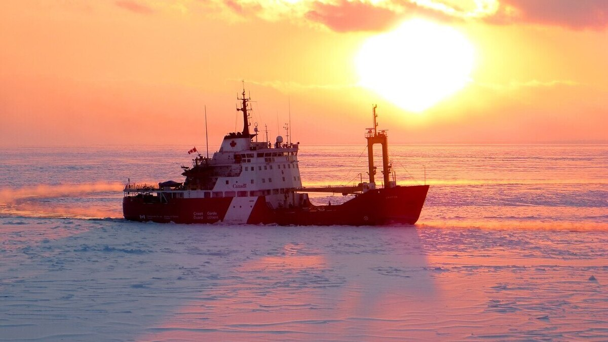 CCGS Griffon performing ice-breaking operations (Source: Canadian Coast Guard)