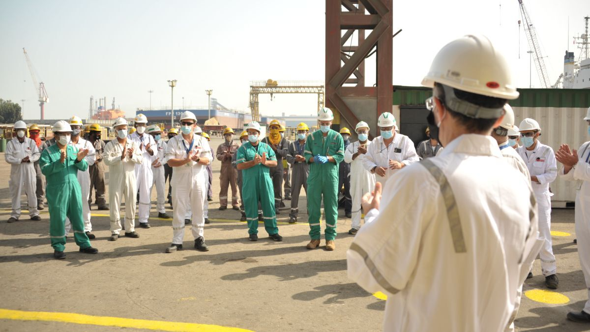 ASRY management and shipyard workers celebrate its ASME status (source: ASRY)