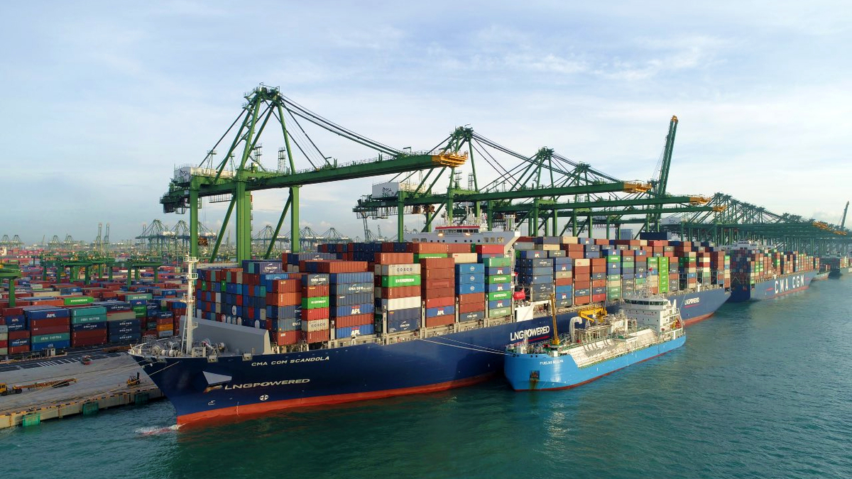 LNG-fuelled ULCS first of six CMA CGM vessels to bunker in Singapore