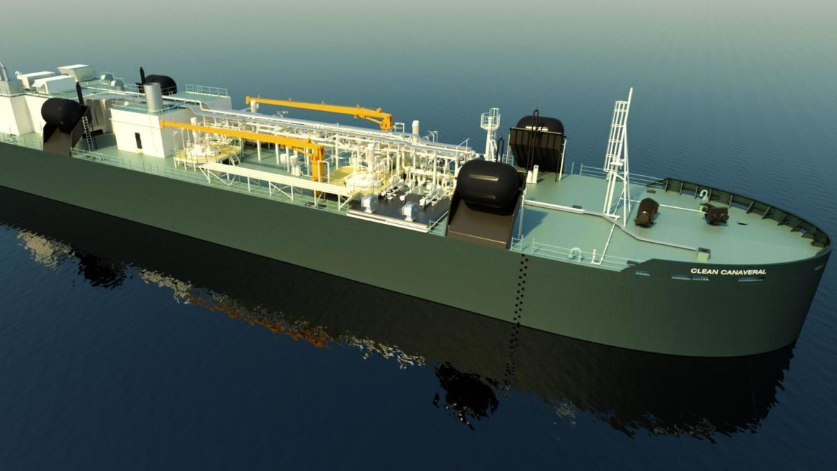 An articulated tug barge (ATB) vessel, Clean Canaveral will have capacity to carry 5,400 m3 of LNG in four tanks (source: Fincantieri Marine)