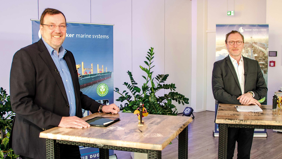 Dirk Lehmann and Henning Kuhlmann (Becker Marine Systems): New co-operation is a perfect fit (source: BMS)