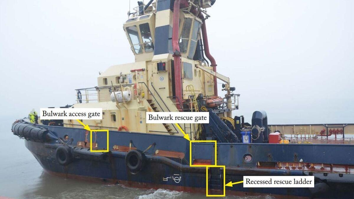 MAIB annotations show man-overboard access points on a tug (source: MAIB)