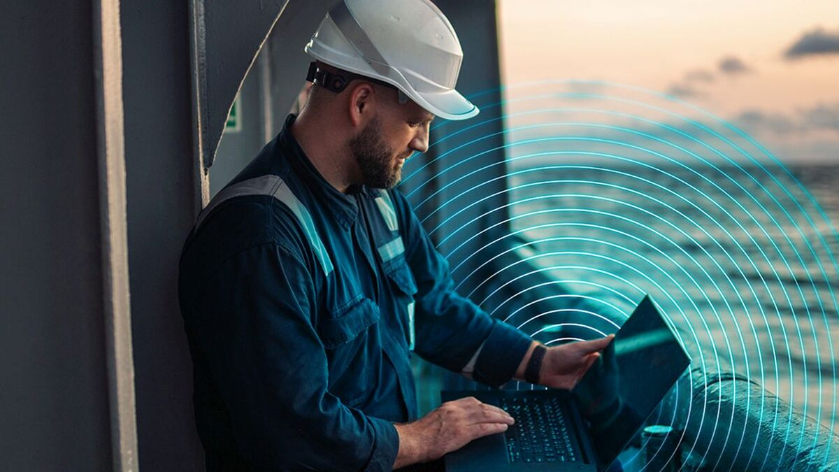 An offshore seafarer connects to OneWeb through a laptop (source: OneWeb)