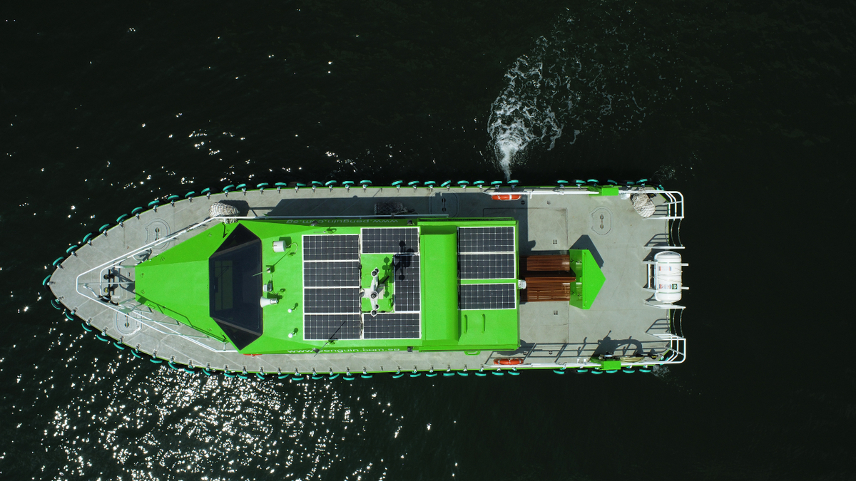 Solar panels on the roof of the vessel's deckhouse provide power for recharging mobile devices and to supplement the vessel's hotel load (source: Penguin International)