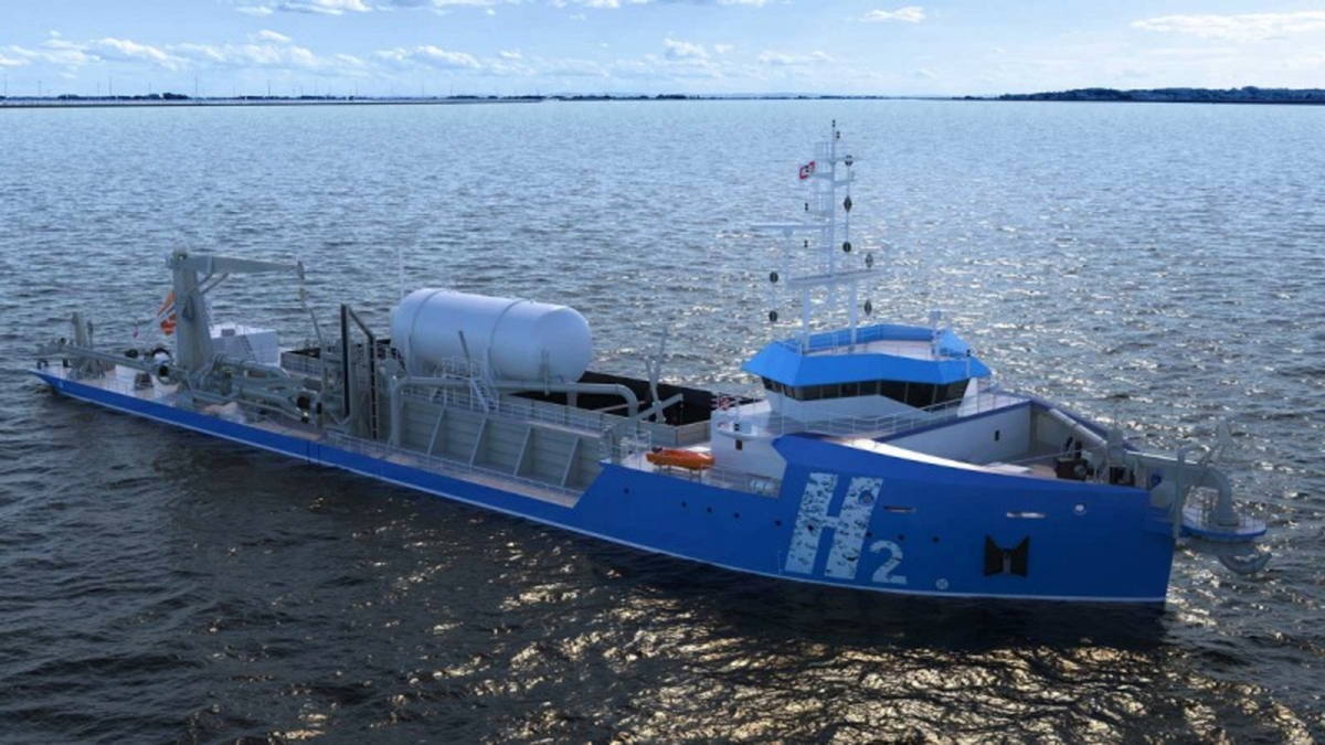 Hydrogen-fuelled trailing suction hopper dredger would emit only water vapour when operating (source: Royal IHC)
