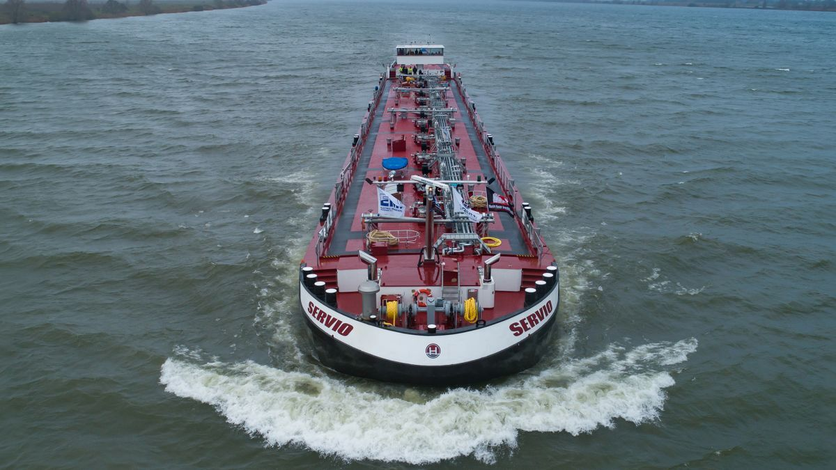 Servio was built in Serbia and towed across Europe for fitting-out in Holland (source: Cummins)