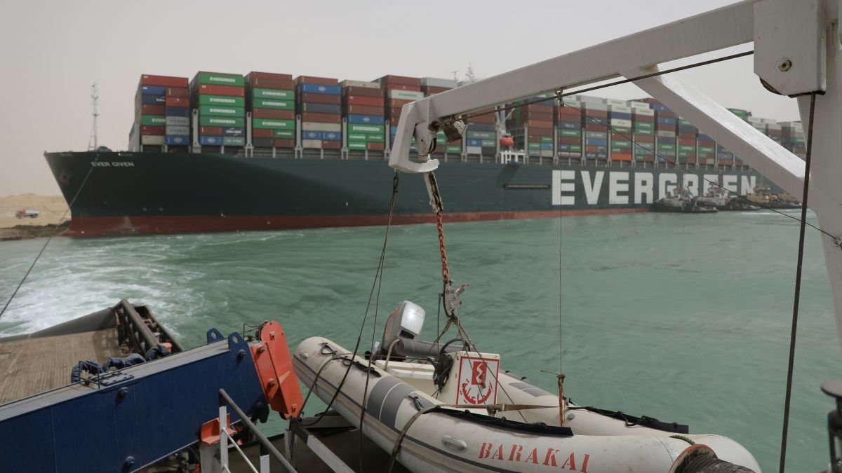 Tug attempting to dislodge Ever Given: the passage of large vessels, including tankers, through the Canal will have to re-evaluated (source: Suez Canal Authority)