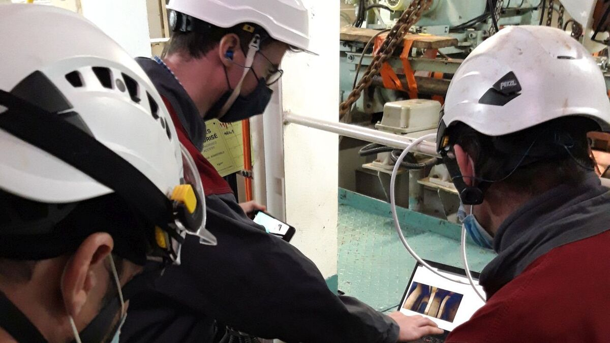 Bureau Veritas survey team inspecting corrosion remotely using a drone and AI (source: BV)