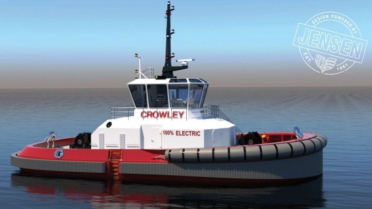 Crowley/Jensen design for an all-electric and autonomous tugboat (source: Crowley)