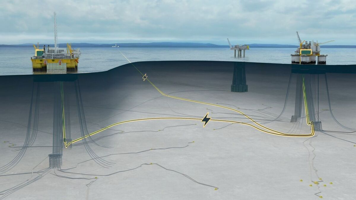 Diagram showing Troll B and Troll C electrification project cables (source: Equinor)