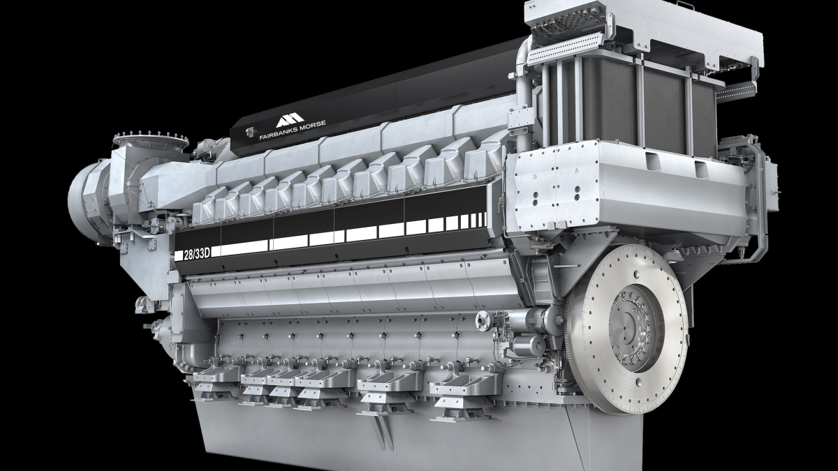 The 10,000-kW FM 28/33D is the world's most powerful 1,000-rpm diesel engine (source: Fairbanks Morse)