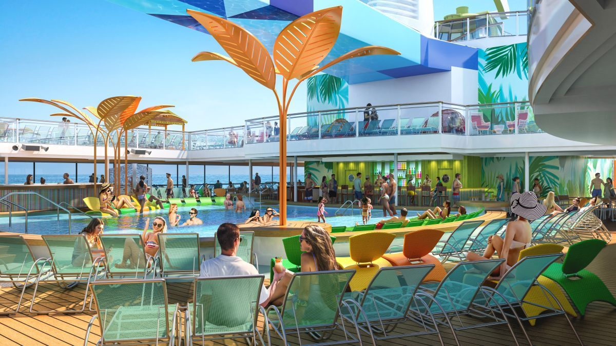The ship's Caribbean-inspired pool area sports a whole new look across two decks (source: RCI)