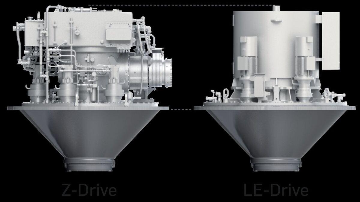 Comparison of installation heights: Z-Drive versus LE-Drive (source: Schottel)