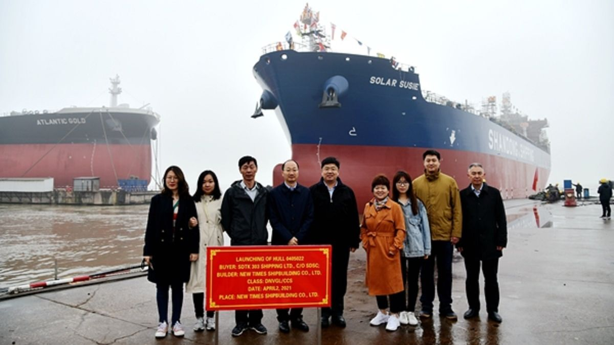 NTS launches Solar Susie, one of eight MR2 product tankers for Shandong Shipping (source: NTS)